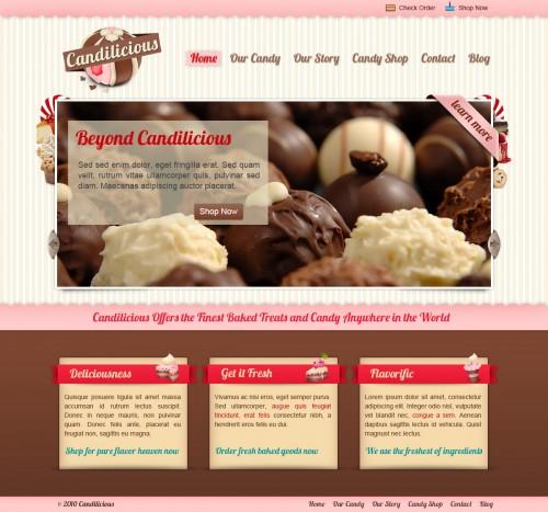 Candilicious の PSD の無料のウェブサイトのテンプレート