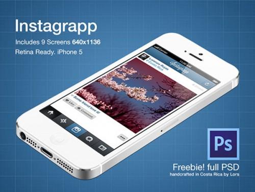 Instagrapp アプリ画面景品 PSD ファイル