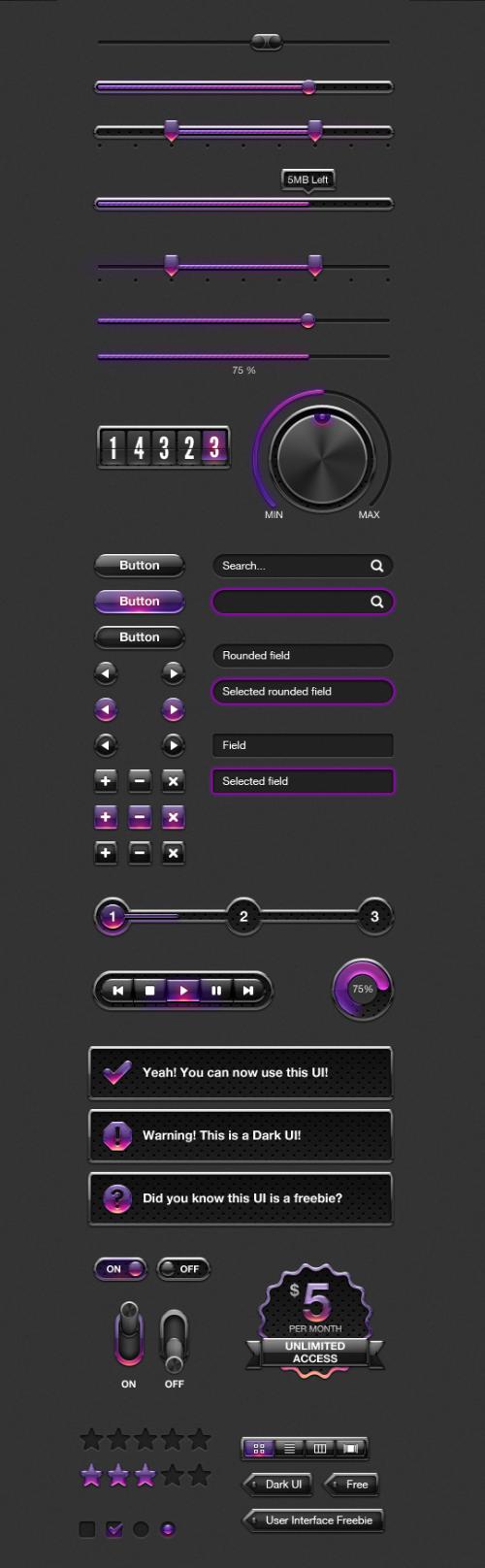 紫の Web UI 要素キット PSD 景品