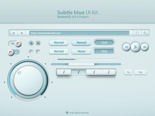 微妙な青い Web UI 要素キット PSD
