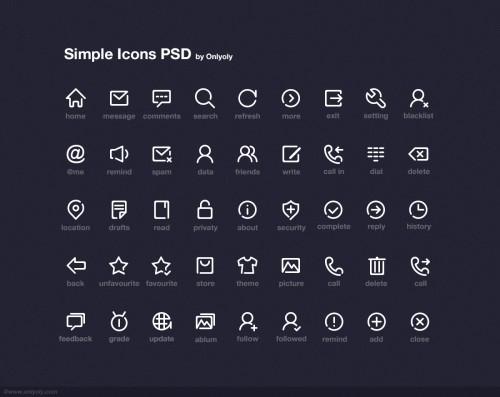 シンプルなアイコン無料 PSD パック