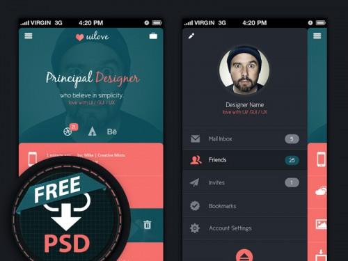 暗い創造的な社会的なアプリのインターフェイス PSD