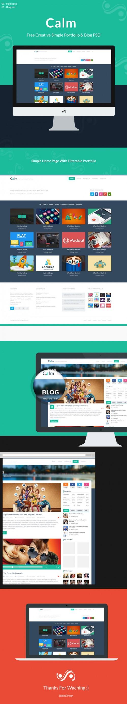 無料の創造的な単純なポートフォリオ & ブログ PSD を静める