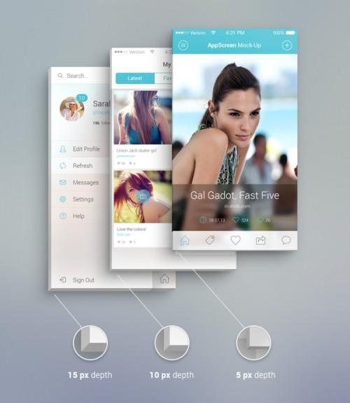 アプリの画面正面 PSD モックアップ
