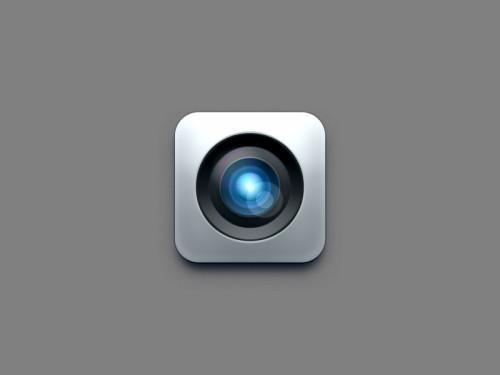 カメラのレンズのアイコンのデザイン PSD (レイヤー スタイル)