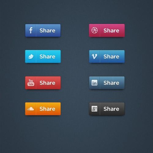 ソーシャル メディアのボタン設定 PSD
