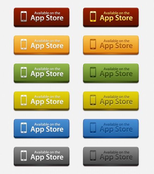 App の店のダウンロード ボタン PSD