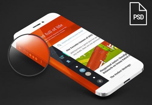 Iphone 6 ラップの周り概念画面 PSD
