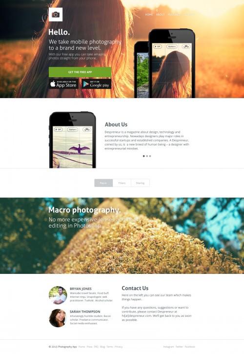 アプリのウェブサイト テンプレート無料の PSD をきれい