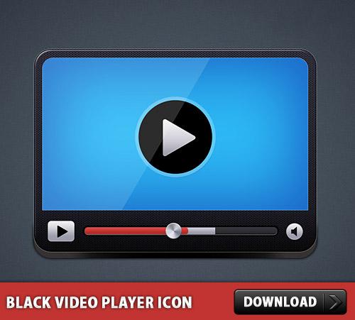黒い動画プレーヤー アイコン PSD
