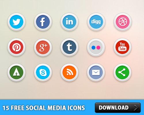 15 無料のソーシャル メディアのアイコン PSD