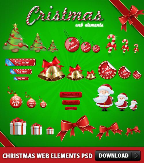 クリスマスの Web 要素 psd ファイルをダウンロードします。