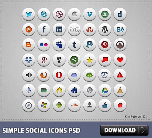 シンプルなソーシャル アイコン無料 psd ファイル