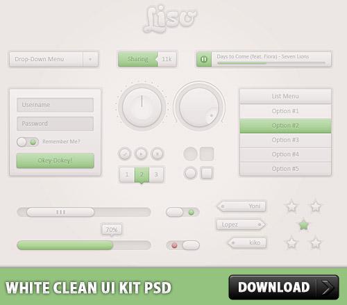 白いきれいな UI キット無料 psd ファイル