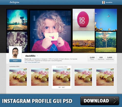 Instagram プロファイル GUI PSD