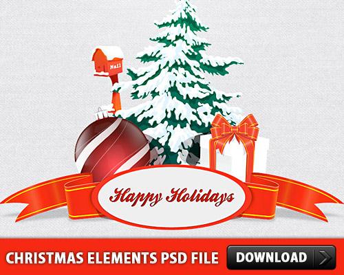 クリスマス要素 PSD ファイル
