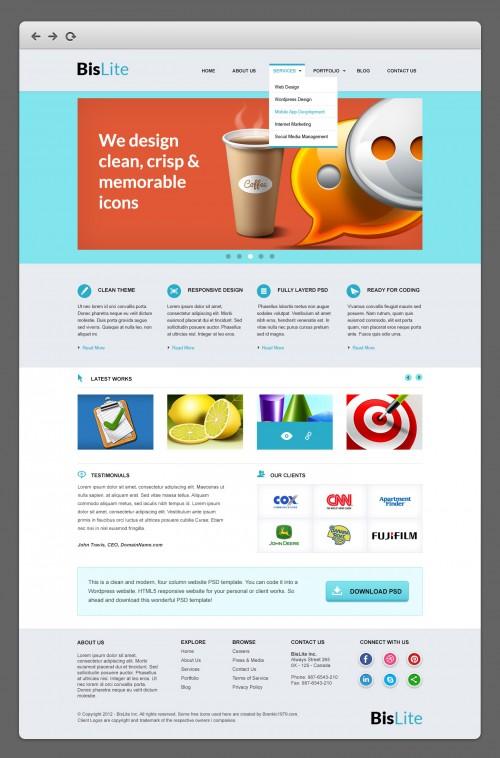 BisLite のビジネスのウェブサイトの PSD テンプレート