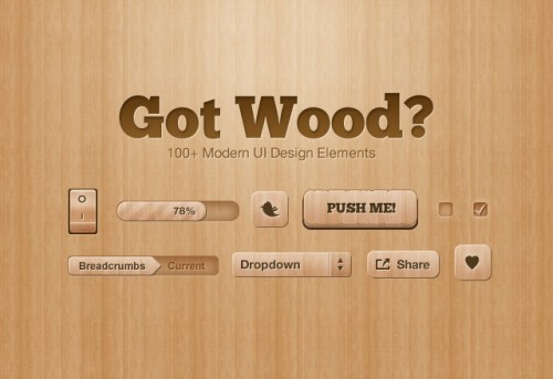 木製の UI のデザイン要素 PSD を得た