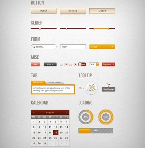 創造的な Web UI キット PSD