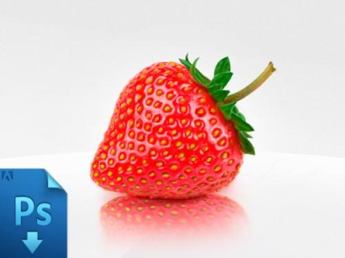 現実的なイチゴ無料 psd ファイル