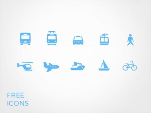 交通機関のアイコン設定無料の PSD