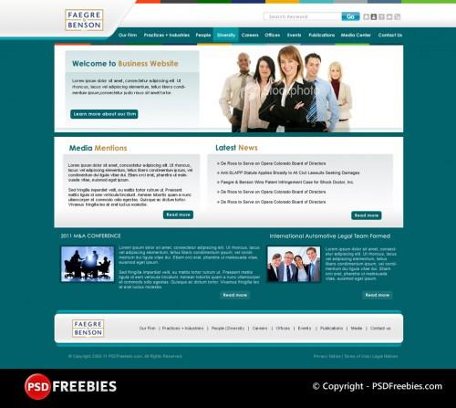 企業のウェブサイトの PSD テンプレート