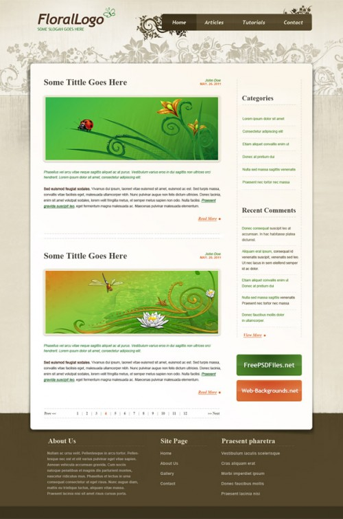 花の PSD のウェブサイト テンプレート