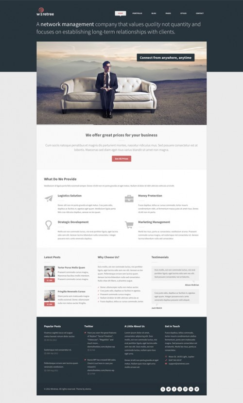 Wiretree 無料ホームページ PSD テンプレート