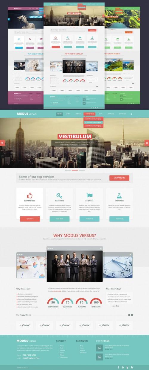 きれいなフラット完全ウェブサイト無料の PSD テンプレート
