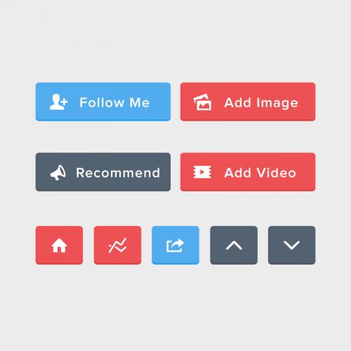 平らな丸みを帯びた UI ボタン PSD セット