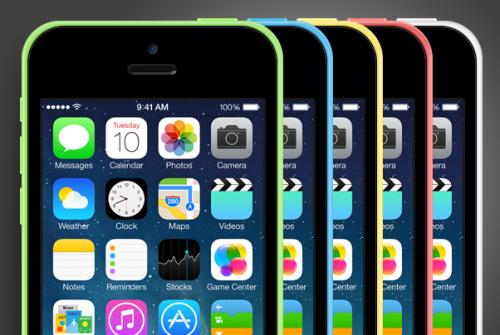 iPhone 5 C PSD モックアップ