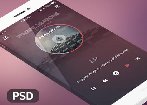 iOS 7 音楽プレーヤー アプリケーション PSD