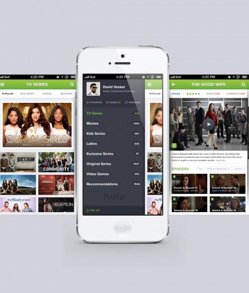 Hulu の iPhone アプリは無料の PSD を再設計します。