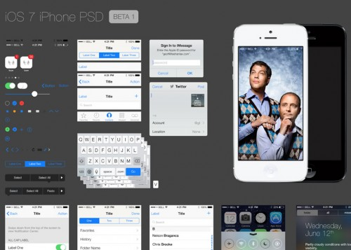 iPhone iOS 7 GUI PSD ファイル