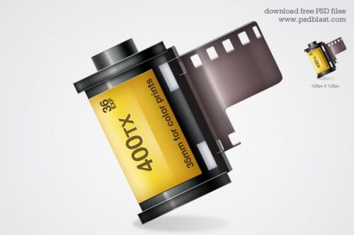 光沢のあるカメラ フィルム ストリップ アイコン PSD