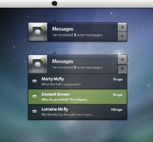 メッセージ通知ボックス ユーザー インターフェイス PSD