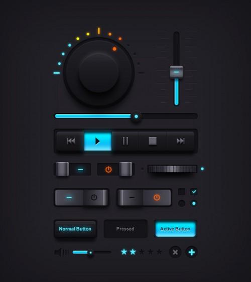 暗い音楽 UI 要素 PSD