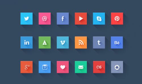 ソーシャル メディアのウェブサイト アイコン セット PSD をフラットします。