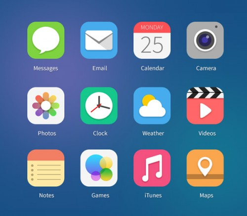 iOS7 コンセプト PSD ファイルのアイコン
