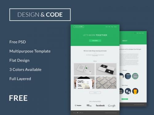 最小限のフラット デザイン PSD のウェブサイト テンプレート