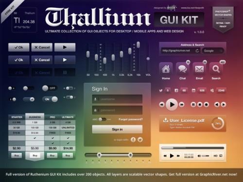 アプリや web デザイナーのための GUI キット無料 psd ファイル