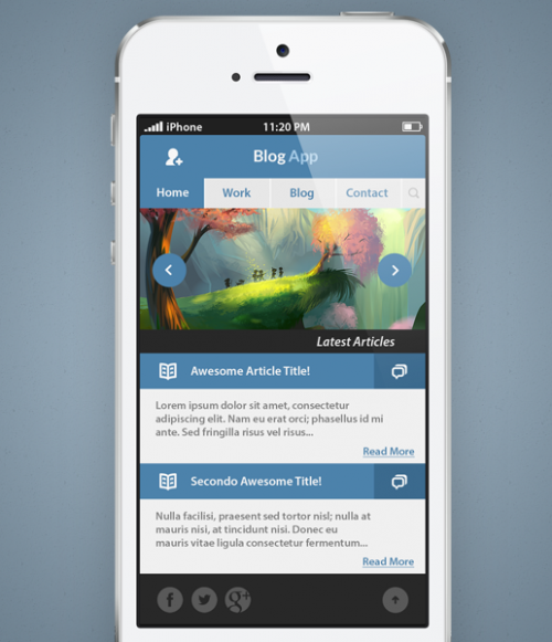 ブログ テンプレート フラット モバイル インターフェイス PSD