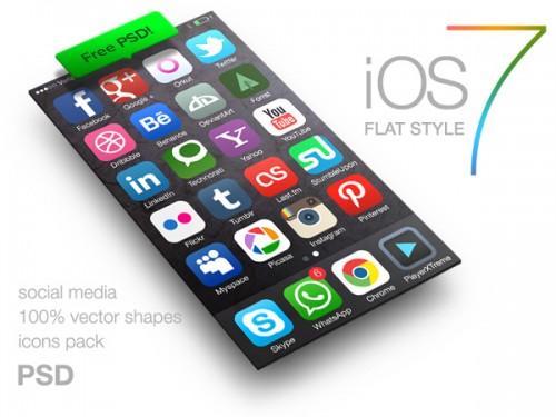 iOS 7 社会的なメディアのアイコン無料 psd ファイル