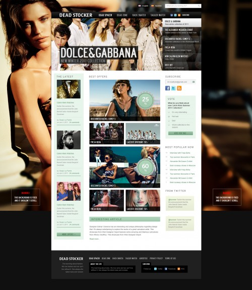ファッションのウェブサイト無料の PSD テンプレート