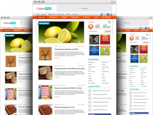 ワードプレスのブログのテーマの PSD テンプレート