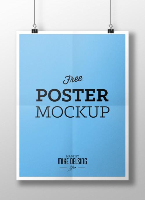 ハンギング ペーパー ポスター モックアップ PSD