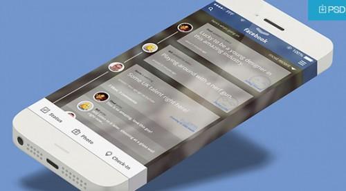 iOS7 携帯電話 Facebook アプリ概念 PSD 景品