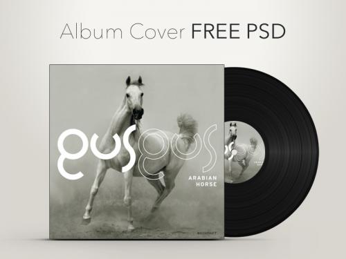 ビニール レコードのアルバム カバーのグラフィックの PSD
