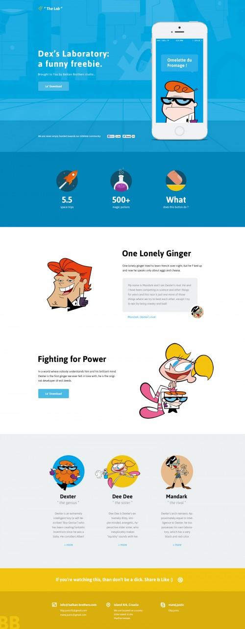 デクスターのラボのウェブサイト デザイン景品 PSD