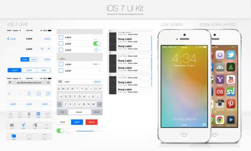 iOS 7 UI キット PSD ファイル